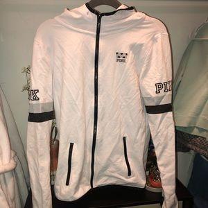 VS white athletic zip up hoodie